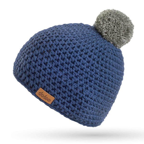 MERINO CROCHETED pom BEANIE navy - richard-woox