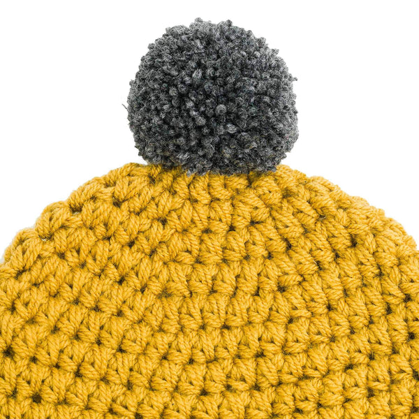 CROCHETED POM BEANIE gold - richard-woox