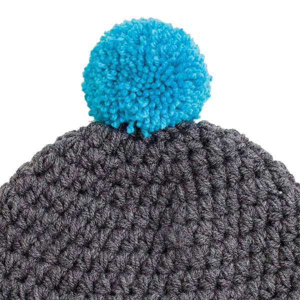 CROCHETED POM BEANIE grey - richard-woox