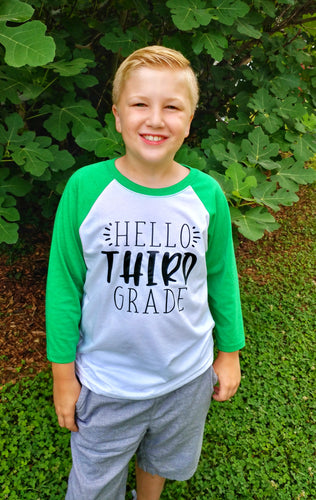 HELLO 'THIRD' GRADE Youth Raglan Shirt