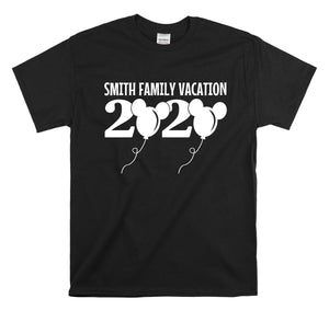 2020 DISNEY BALLOON FAMILY VACATION-All Sizes Black T