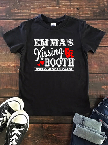 KISSING BOOTH PERSONALIZED Youth Valentine T Shirt