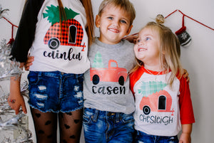 CAMPER POLKA DOT PERSONALIZED Youth Holiday Raglan-Red Sleeve