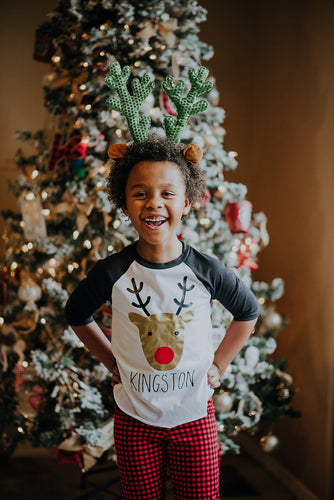 RUDOLPH PERSONALIZED Youth Holiday Raglan-Black Sleeve