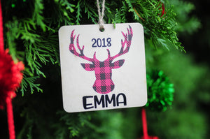 DEER PERSONALIZED Wooden Christmas Ornament Collection
