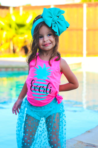 PINEAPPLE STRIPED PERSONALIZED Girls Summer Tank