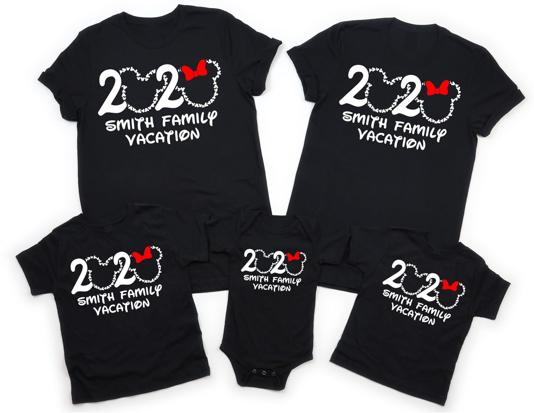 2020 DISNEY PERSONALIZED FAMILY VACATION Mickey and Minnie-All Sizes Black T