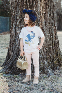 FLORAL BUNNY (navy) Youth Easter T Shirt