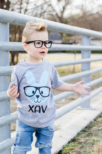 HIPSTER BUNNY-LIGHT BLUE-Youth Easter T Shirt