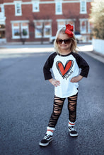 DOODLE HEART RAGLAN PERSONALIZED Youth Valentine-Black Sleeve