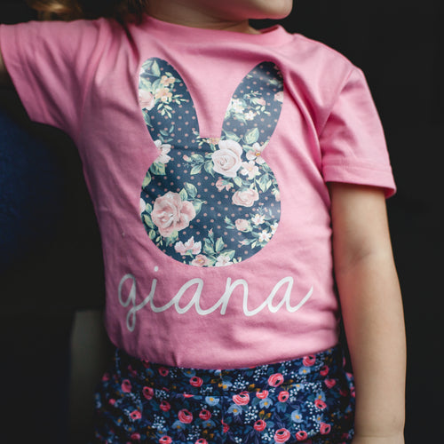 FLORAL BUNNY FACE (navy) Youth Easter T Shirt