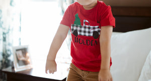 TRUCK CHRISTMAS TREE PERSONALIZED Youth Holiday T Shirt Red