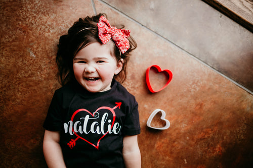 HEART PERSONALIZED Girl Youth Valentine T Shirt