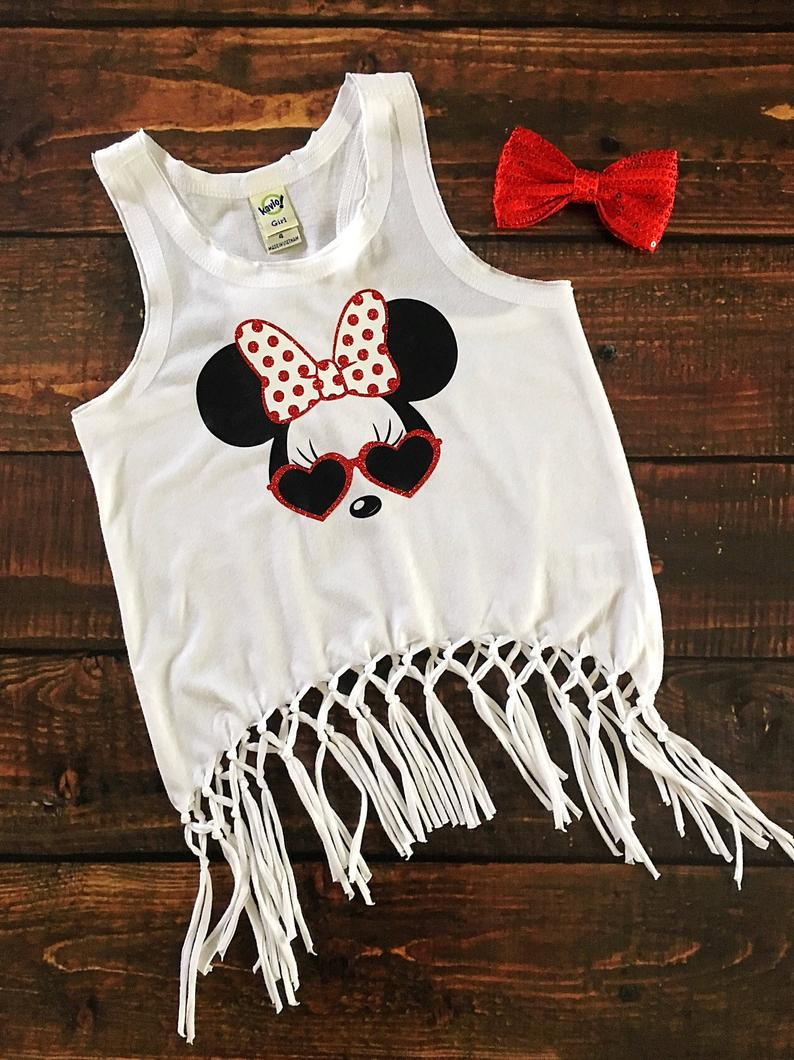 MINNIE WITH SUNGLASSES-White Disney Fringe Tank