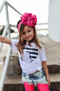 FLORAL STRIPE HEART WITH NAME Youth Valentine T Shirt