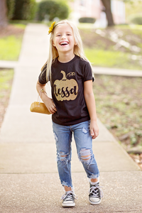 GLITTER PUMPKIN PERSONALIZED Youth Fall T Shirt