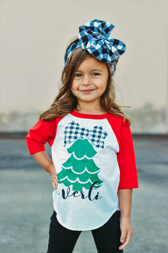 CHRISTMAS TREE PERSONALIZED Youth Holiday Raglan-Red Sleeve