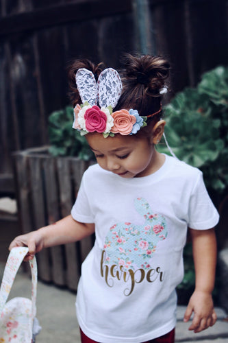 FLORAL BUNNY (mint) Youth Easter T Shirt