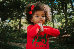 JOY TO THE WORLD Youth Holiday Long Sleeve RED