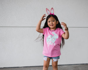 PINK FLORAL BUNNY (mint floral)Youth Easter T Shirt