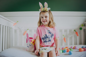 PINK FLORAL BUNNY (navy floral) Youth Easter T Shirt
