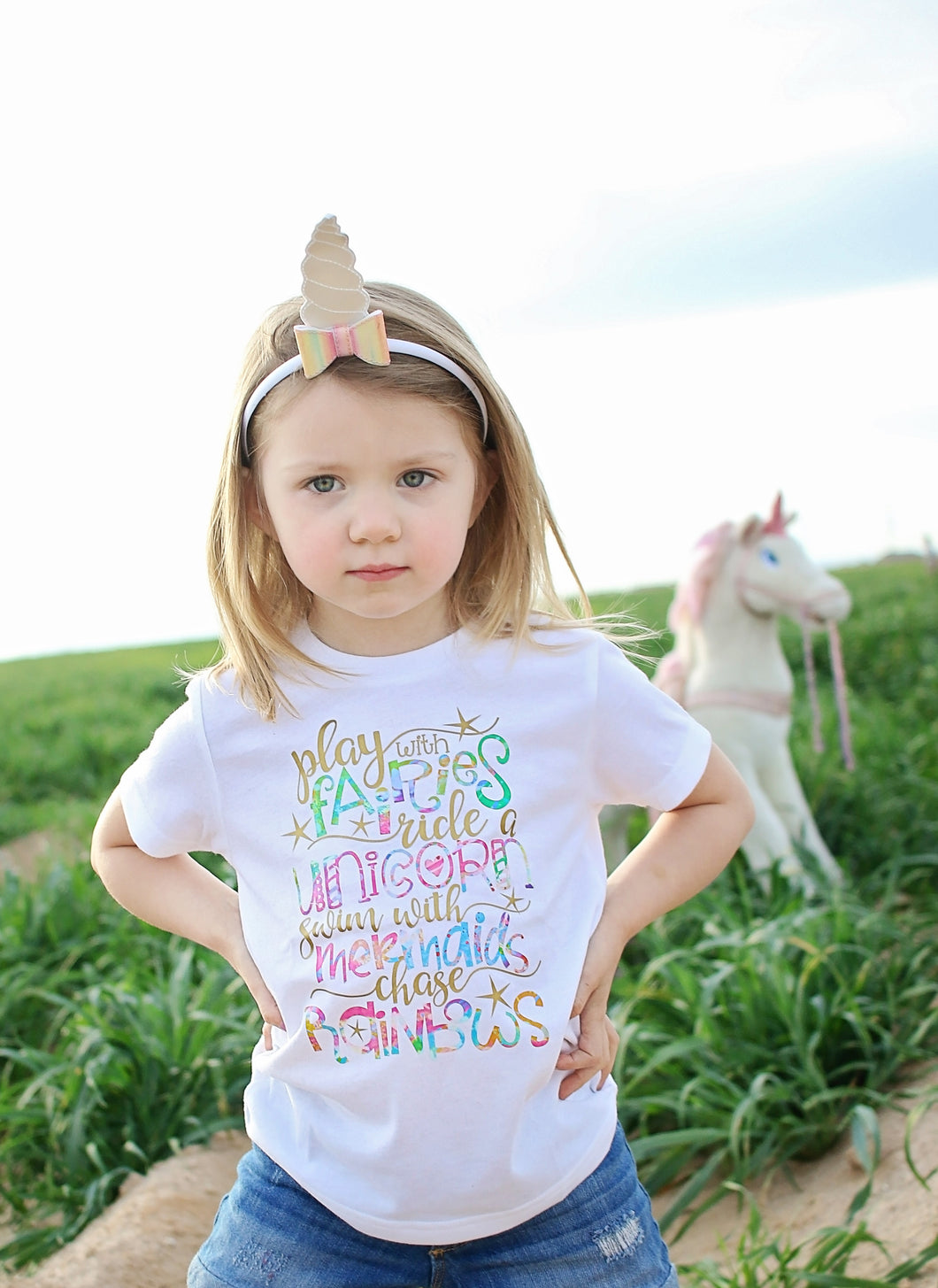 PLAY WITH FAIRIES, RIDE A UNICORN, SWIM WITH MERMAIDS, CHASE RAINBOWS Youth T Shirt