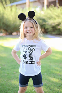 I'M JUST HERE FOR THE SNACKS Youth Disney T Shirt