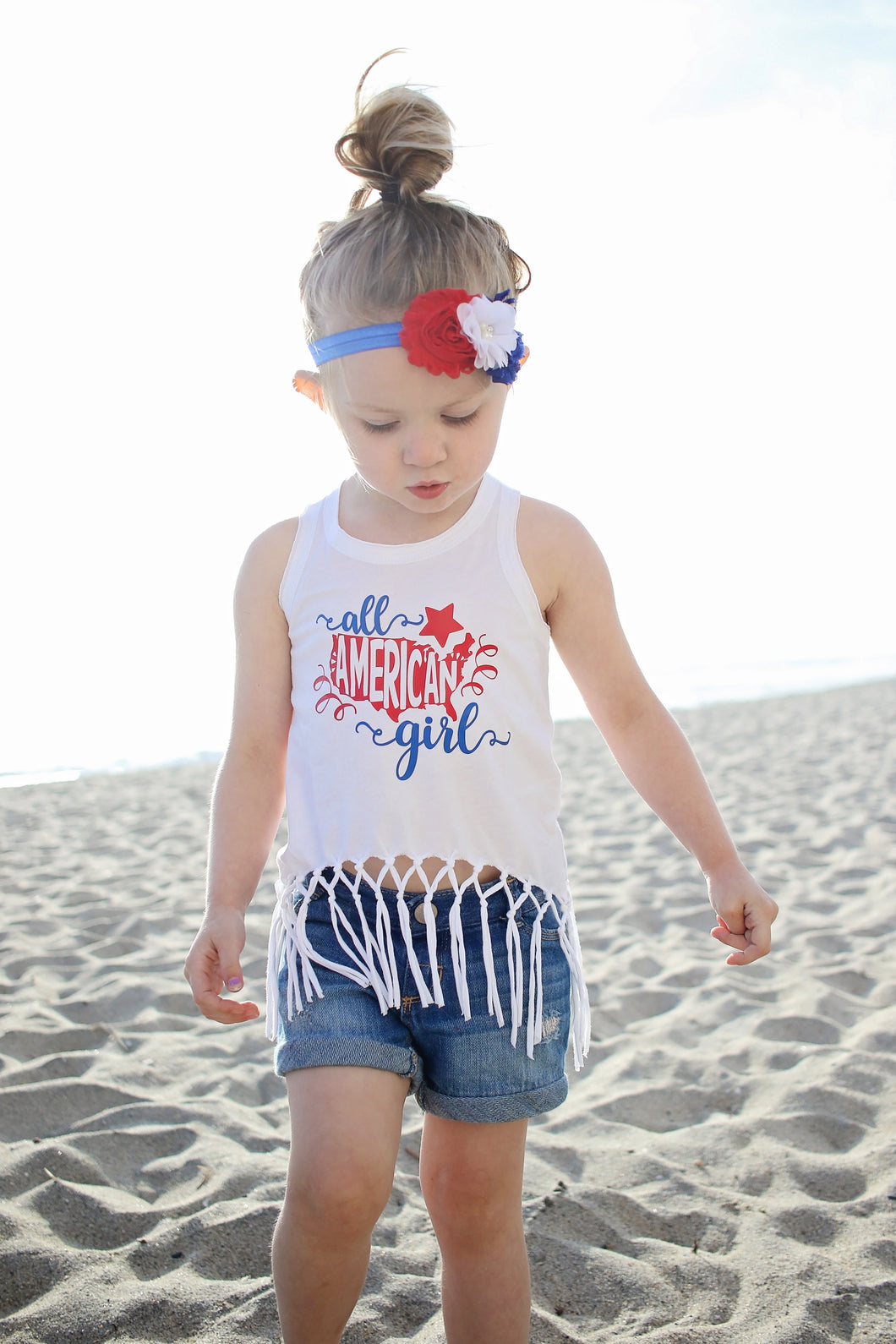 ALL AMERICAN GIRL Fringe Tank