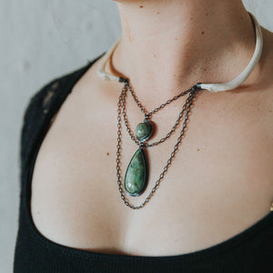Emily Eliza Arlotte Handcrafted fine Jewellery - Eventide Necklace Neckpiece Contemporary Handmade Wallaby Bones Tasmanian Buttongrass Jade Sterling Silver Natural Wearable Art Witchy Boho Tribal