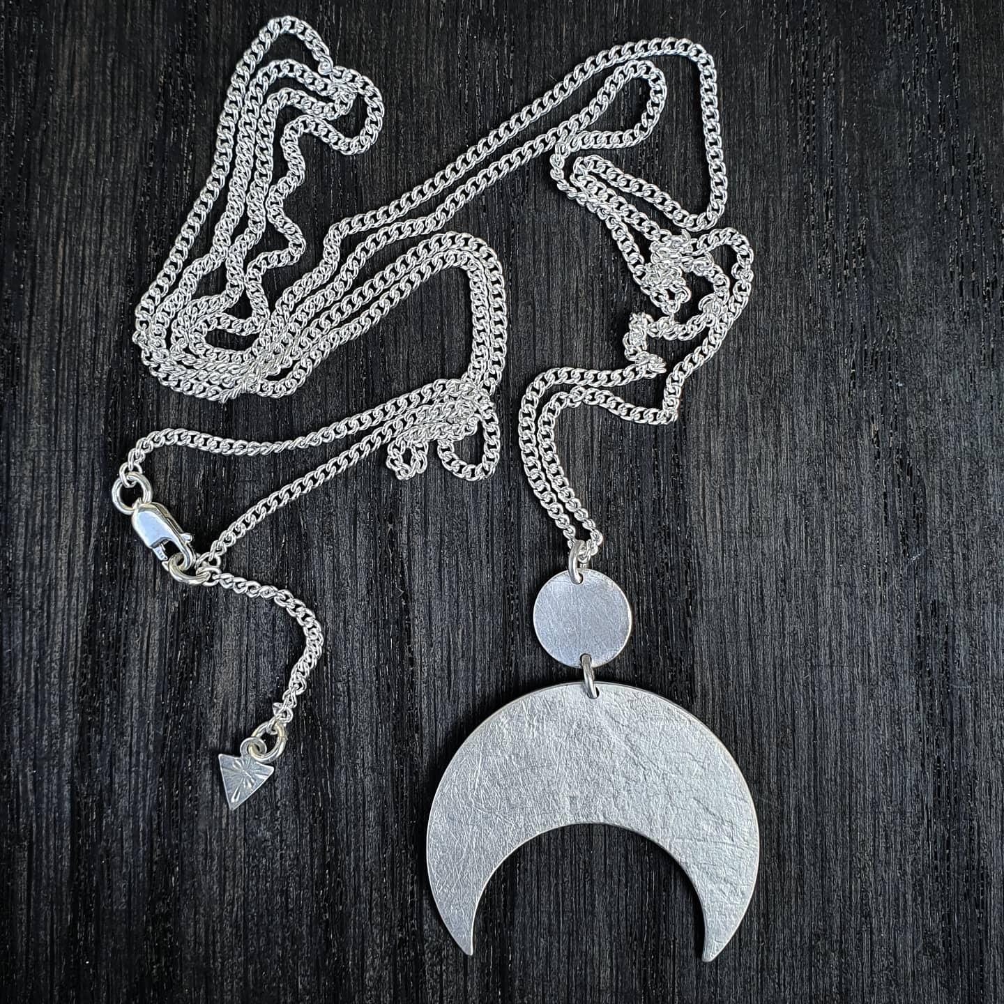Emily Eliza Arlotte Handcrafted Fine Jewellery - Handmade Australian Tasmanian Jewelry Ethically Made Sustainable Recycled Sterling Silver Charm Necklace Half Moon Crescent Celestial Goddess Pendant Contemporary Dainty Statement Unique Trendy Modern Necklace Boho Bohemian Gypsy Witchy Alternative Style Festival Fashion