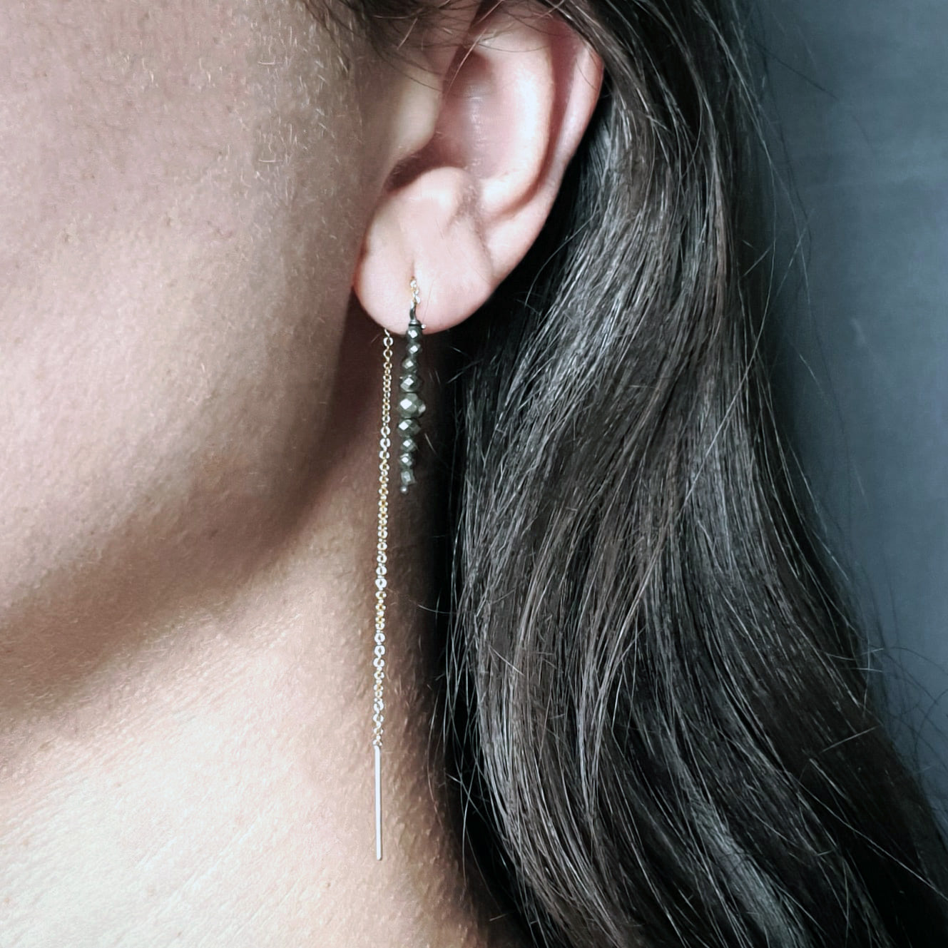 Gold and Pyrite Thread Earrings