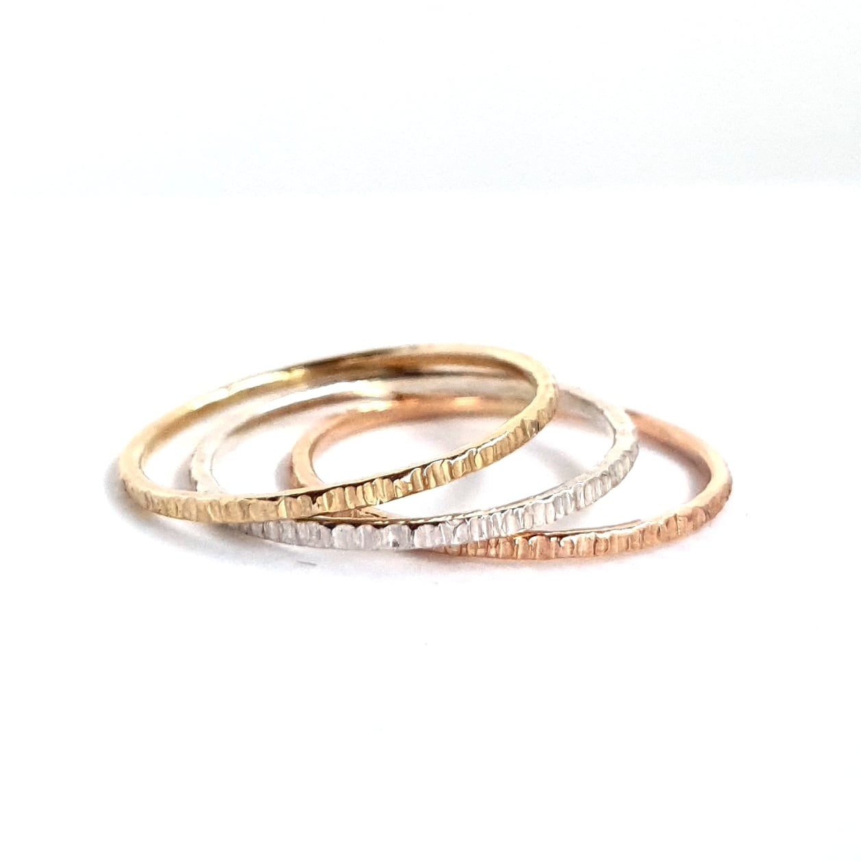 Emily Eliza Arlotte Handcrafted Fine Jewellery - Handmade Australian Tasmanian Jewelry Ethically Made Sustainable Recycled Sterling Silver Textured Contemporary Dainty Statement Unique Trendy Modern Stack Ring Boho Bohemian Gypsy Witchy Alternative Style Festival Fashion Shop Online Boutique Rose Gold Yellow Gold 9ct