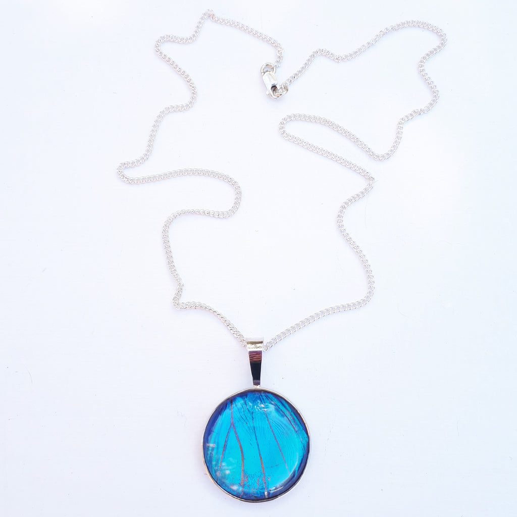 Emily Eliza Arlotte Handcrafted Fine Jewellery - Real Butterfly Wing Necklace Blue Morpho Sterling Silver Pendant Glass
