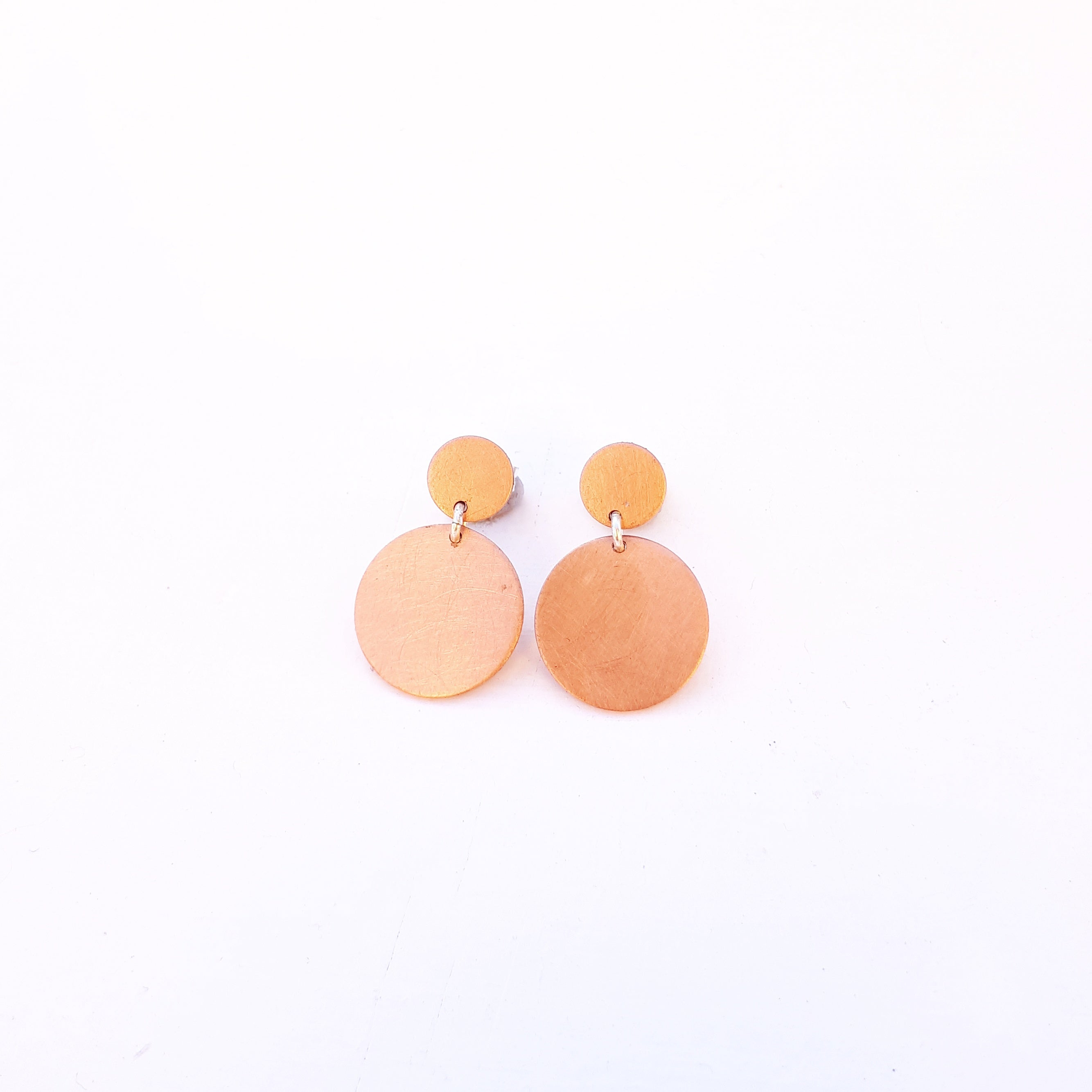 Emily Eliza Arlotte Handcrafted Fine Jewellery - Mother Earrings Circles Copper Rose Gold