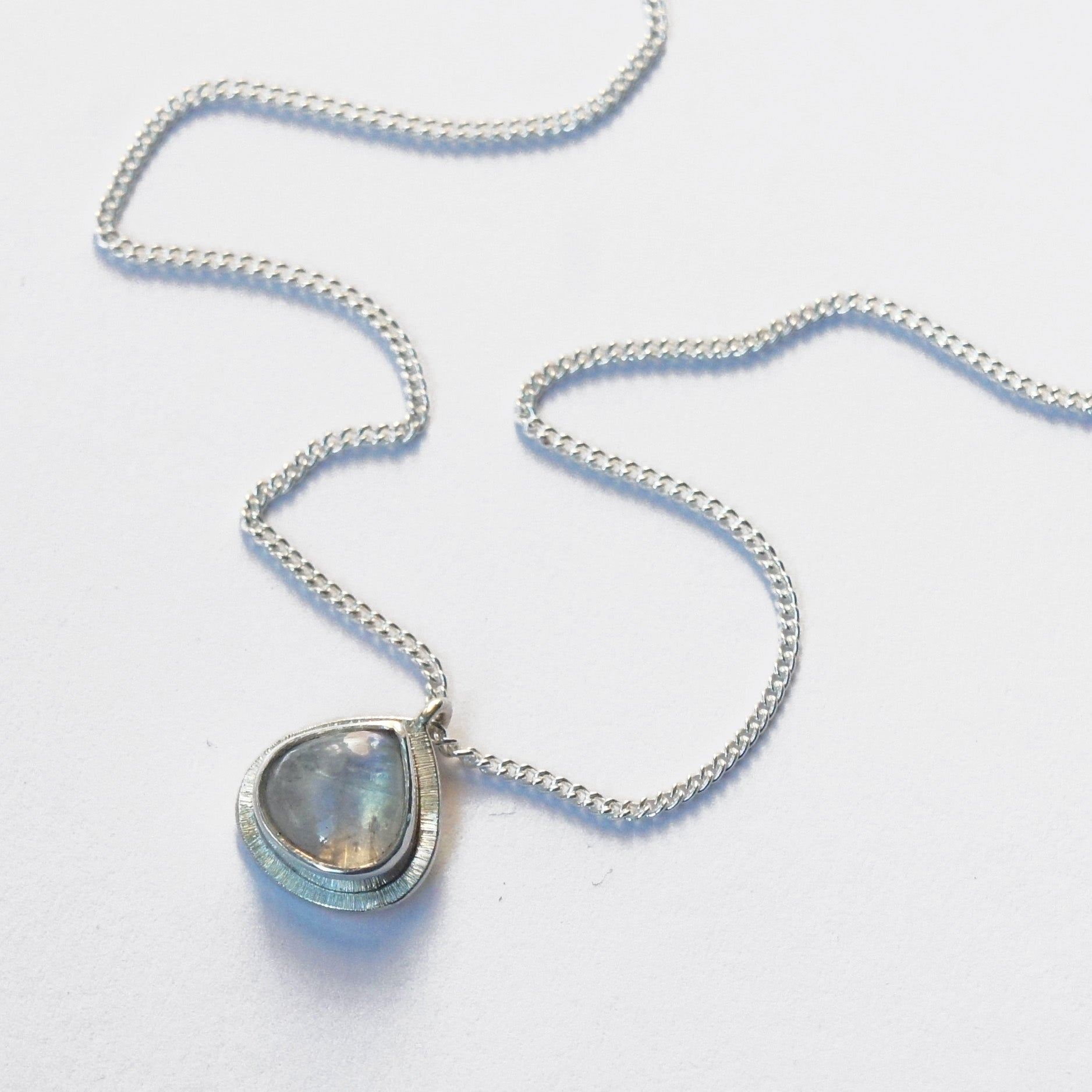 Emily Eliza Arlotte Handcrafted Fine Jewellery - Sterling Silver Handmade Moonstone Gemstone Pendant Necklace Boho Bohemian Witchy Dainty Contemporary Style Fashion