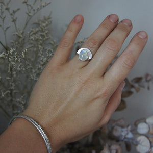 Emily Eliza Arlotte Handcrafted Fine Jewellery - Contemporary Handmade Sterling Silver Moonstone Gemstone Ring Boho Bohemian Witchy Pagan Style Fashion