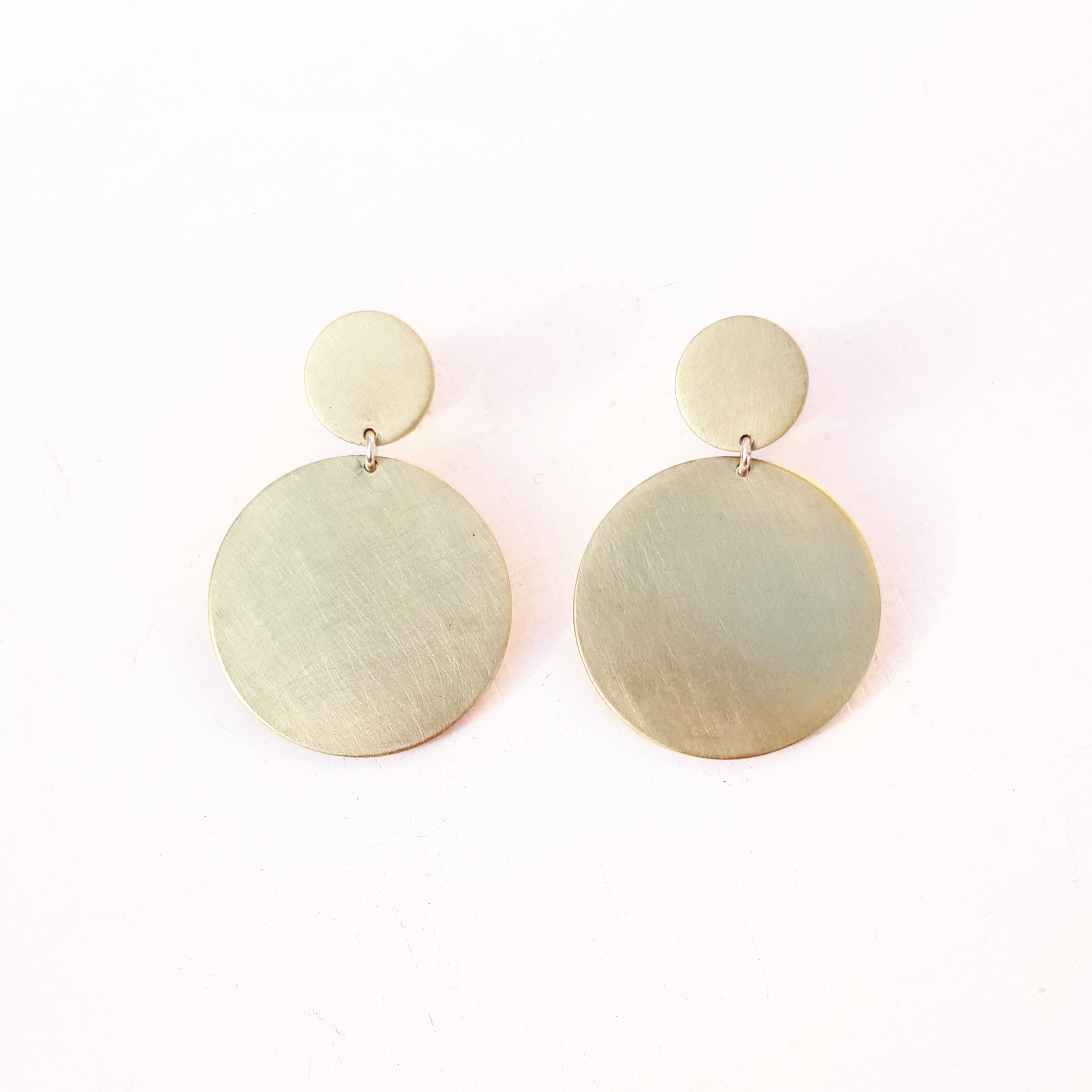 Emily Eliza Arlotte Handcrafted Fine Jewellery - Mother Earrings Circles Brass Gold