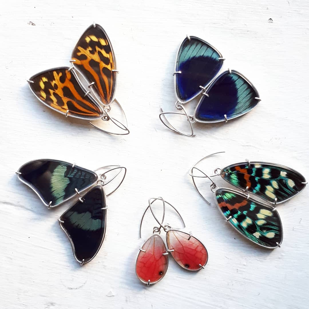 Emily Eliza Arlotte Handcrafted Fine Jewellery - Real Butterfly Wing Earrings Tithorea harmonia orange black colourful sterling silver