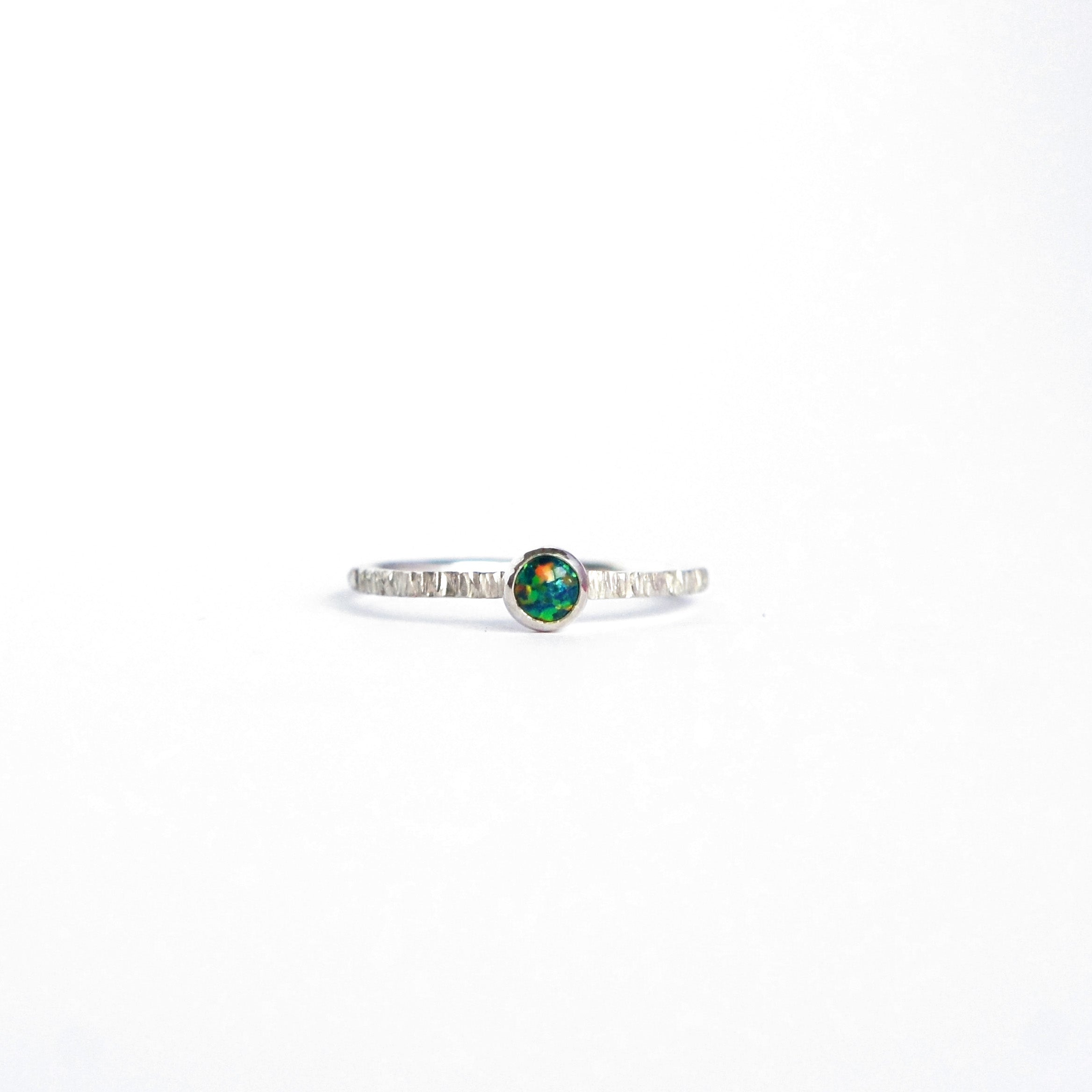 Emily Eliza Arlotte Handcrafted Fine Jewellery - Sterling Silver Forest Opal Dainty Galaxy Ring