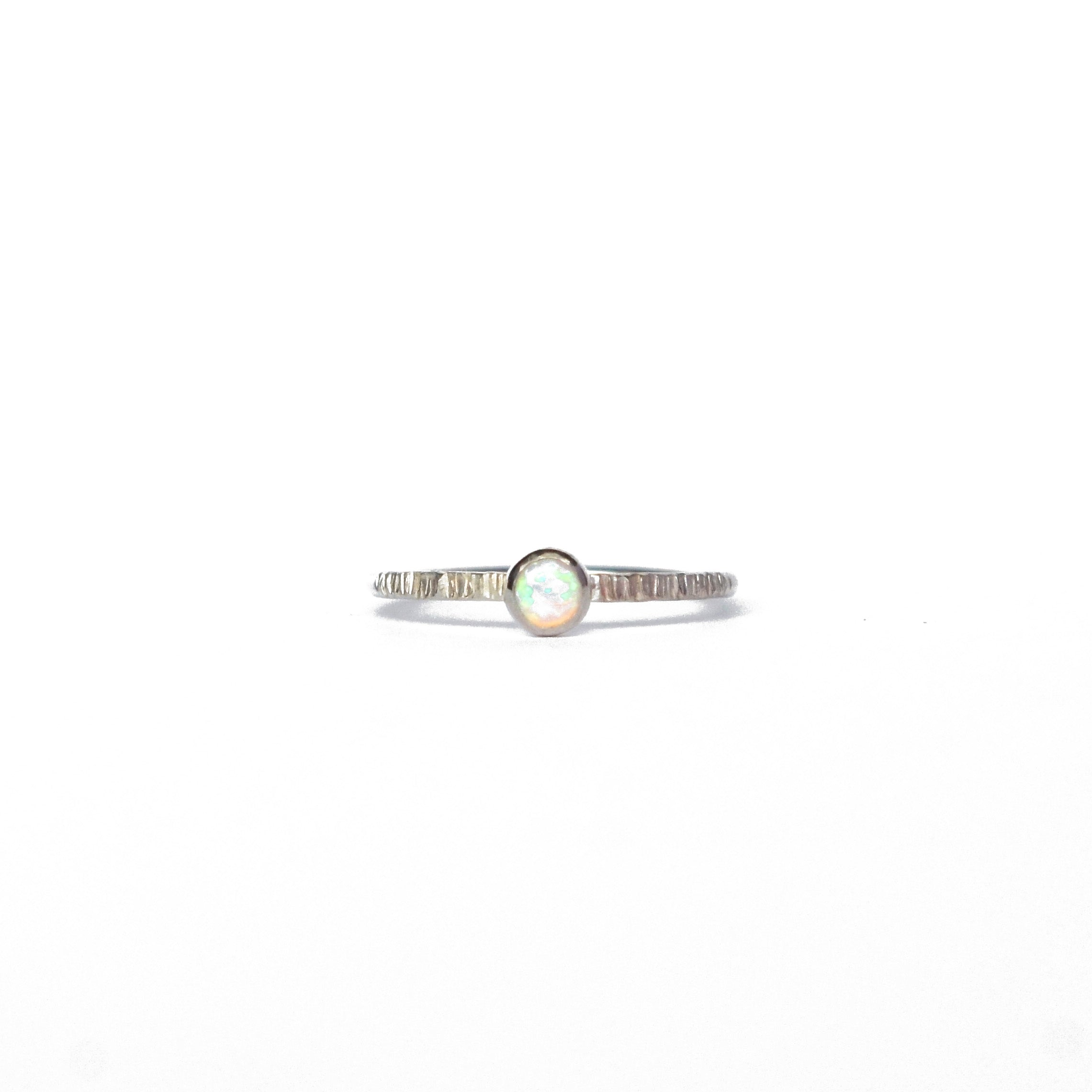 Emily Eliza Arlotte Handcrafted Fine Jewellery - Sterling Silver Iridiscent Opal Dainty Galaxy Ring