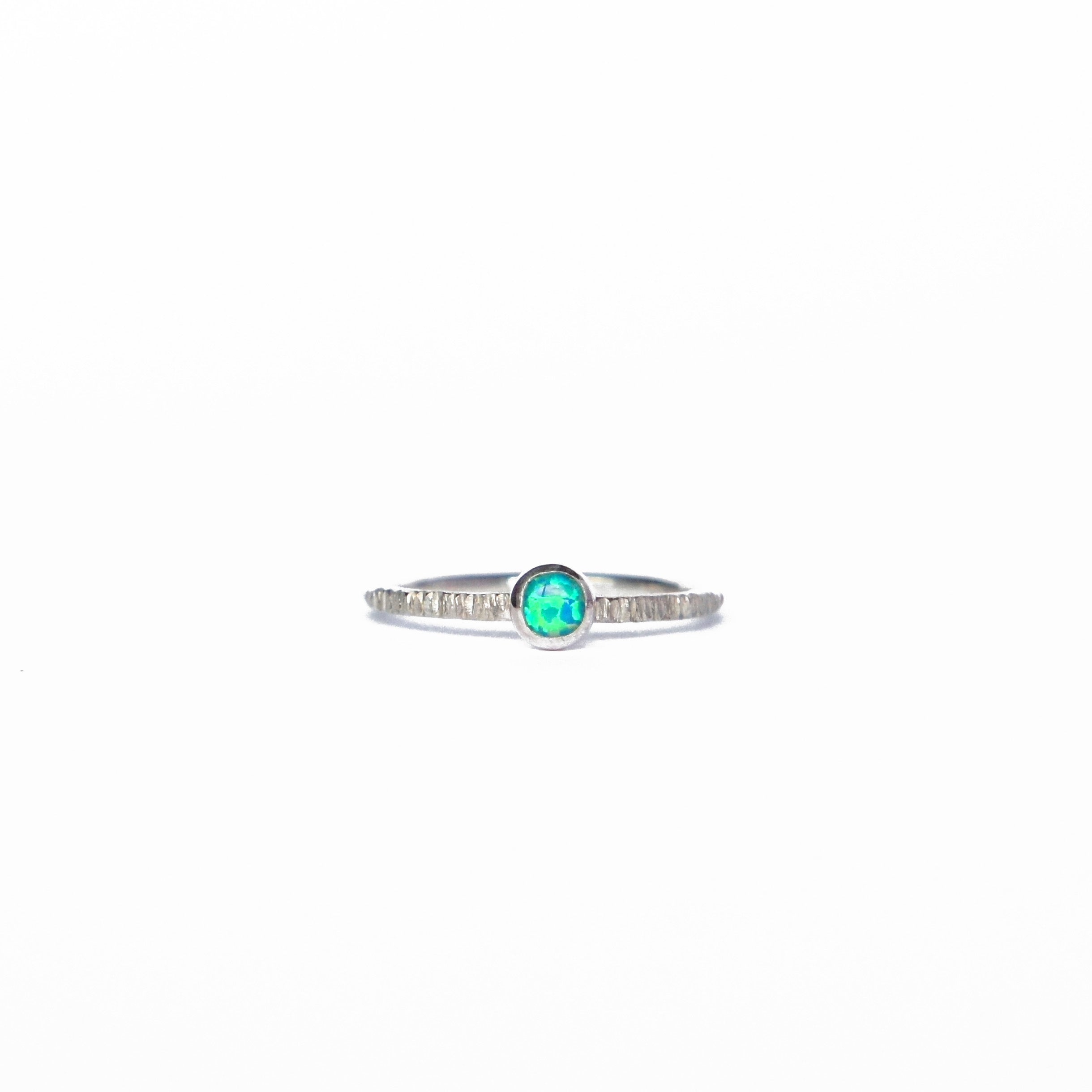 Emily Eliza Arlotte Handcrafted Fine Jewellery - Sterling Silver Sea Green Opal Dainty Galaxy Ring