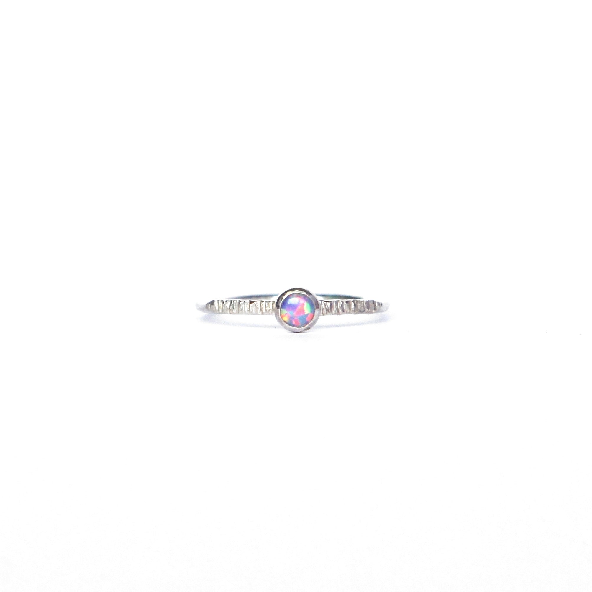 Emily Eliza Arlotte Handcrafted Fine Jewellery - Sterling Silver Violet Opal Dainty Galaxy Ring