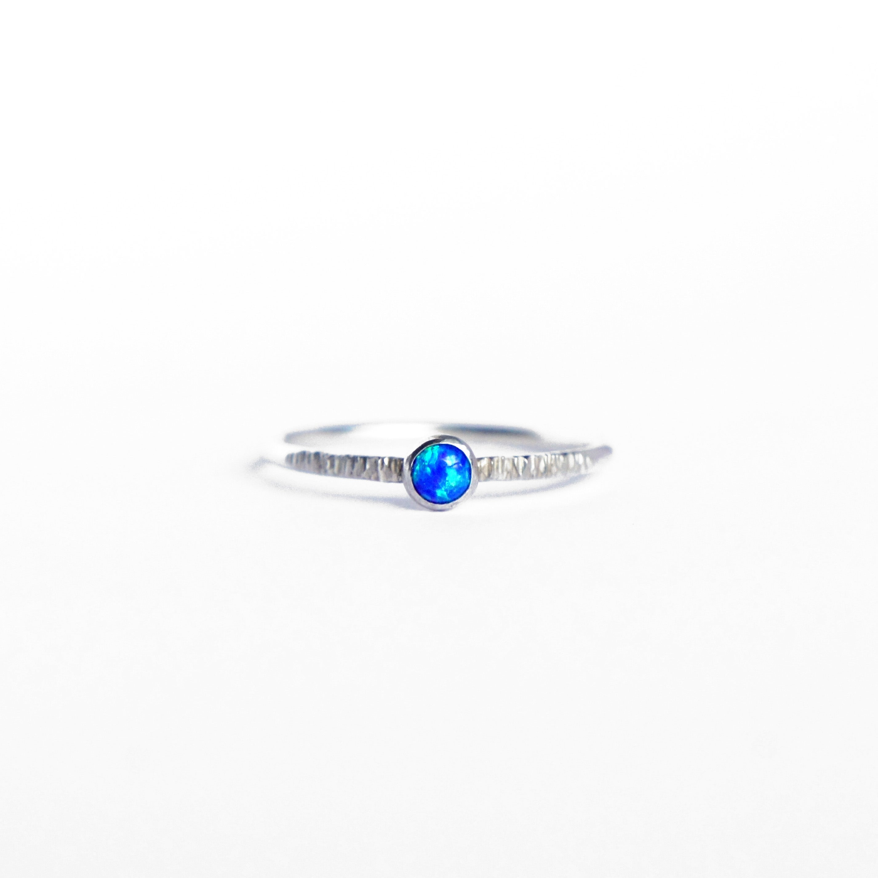 Emily Eliza Arlotte Handcrafted Fine Jewellery - Sterling Silver Earth Blue Opal Dainty Galaxy Ring