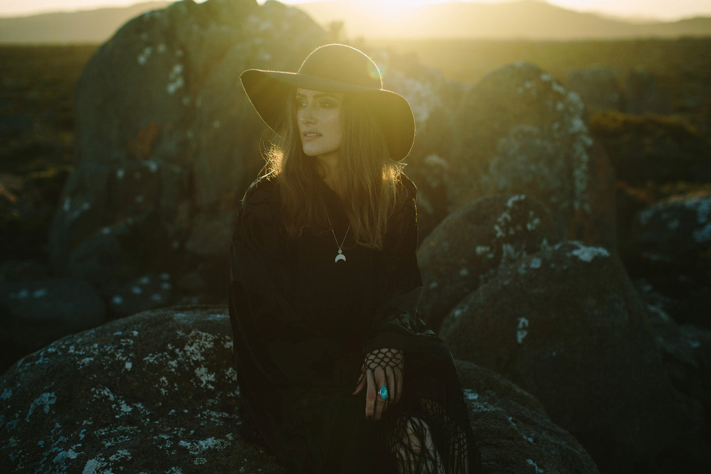 Emily Eliza Arlotte Handcrafted Fine Jewellery - Sterling Silver Crescent Moon Goddess Necklace Long Girl Wide Brim Hat Kimono Black Lace Sunset Mountain Witchy Dark Hair Boho Bohemian Style Fashion