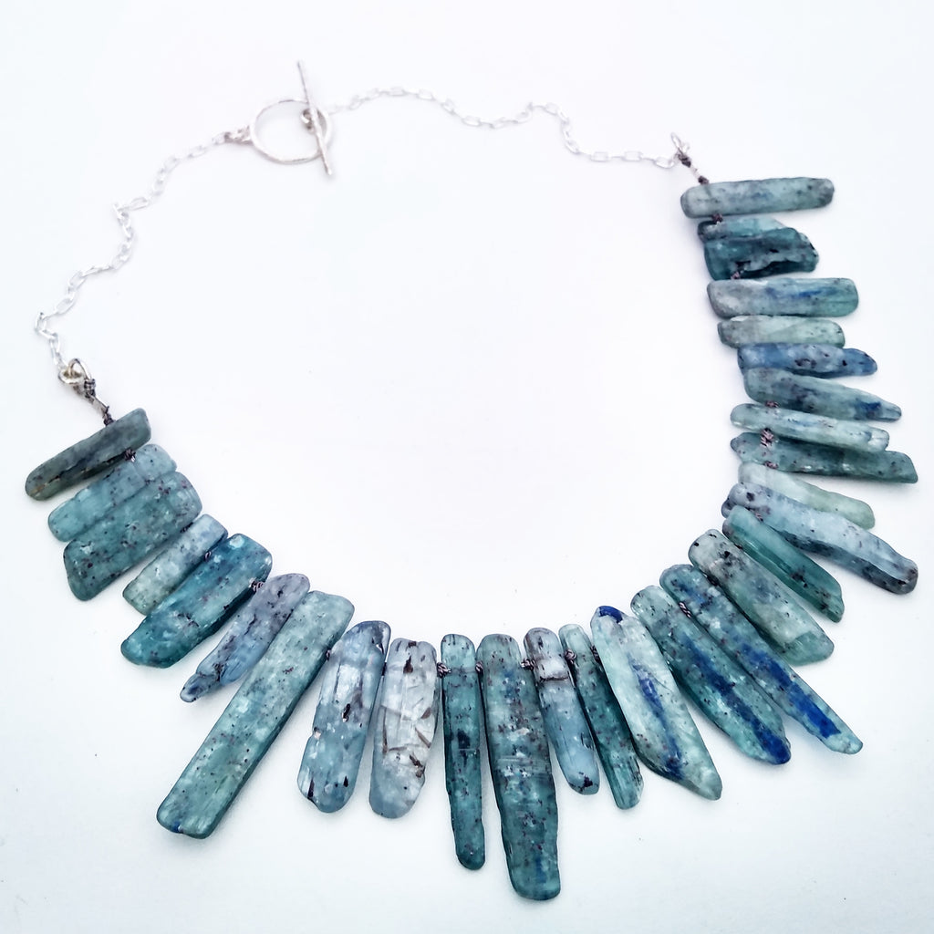 Emily Eliza Arlottte Handcrafted Fine Jewellery - Kyanite Crystal Gemstone Collar Neckpiece Choker Necklace Sterling Silver Contemporary Boho Bohemian Witchy Witch Fashion Style