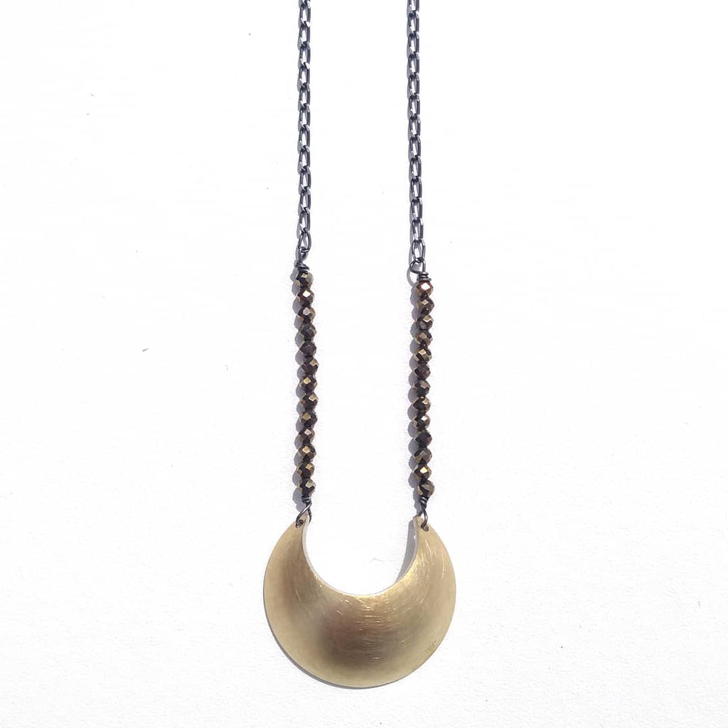 Emily Eliza Arlotte Handcrafted Fine Jewellery - Luna Moon Crescent Pyrite Talisman Contemporary Necklace Tasmania Tasmanian Made Australian Made Witchy Boho Bohemian Pagan Style Fashion 18ct 18k Gold