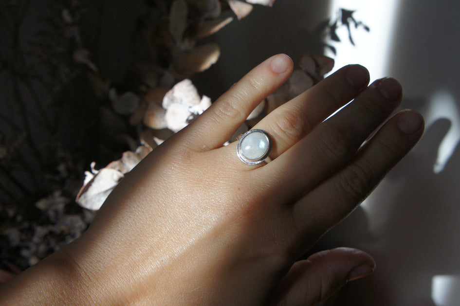 Emily Eliza Arlotte Handcrafted Fine Jewellery - Sterling Silver Moonstone Halo Ring Boho Bohemian Witchy Gemstone Style Fashion Worn Hand Bangles Floral Flowers Sunshine