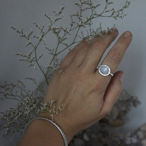 Emily Eliza Arlotte Handcrafted Fine Jewellery - Sterling Silver Moonstone Halo Ring Boho Bohemian Witchy Gemstone Style Fashion Worn Hand Bangles Floral Flowers