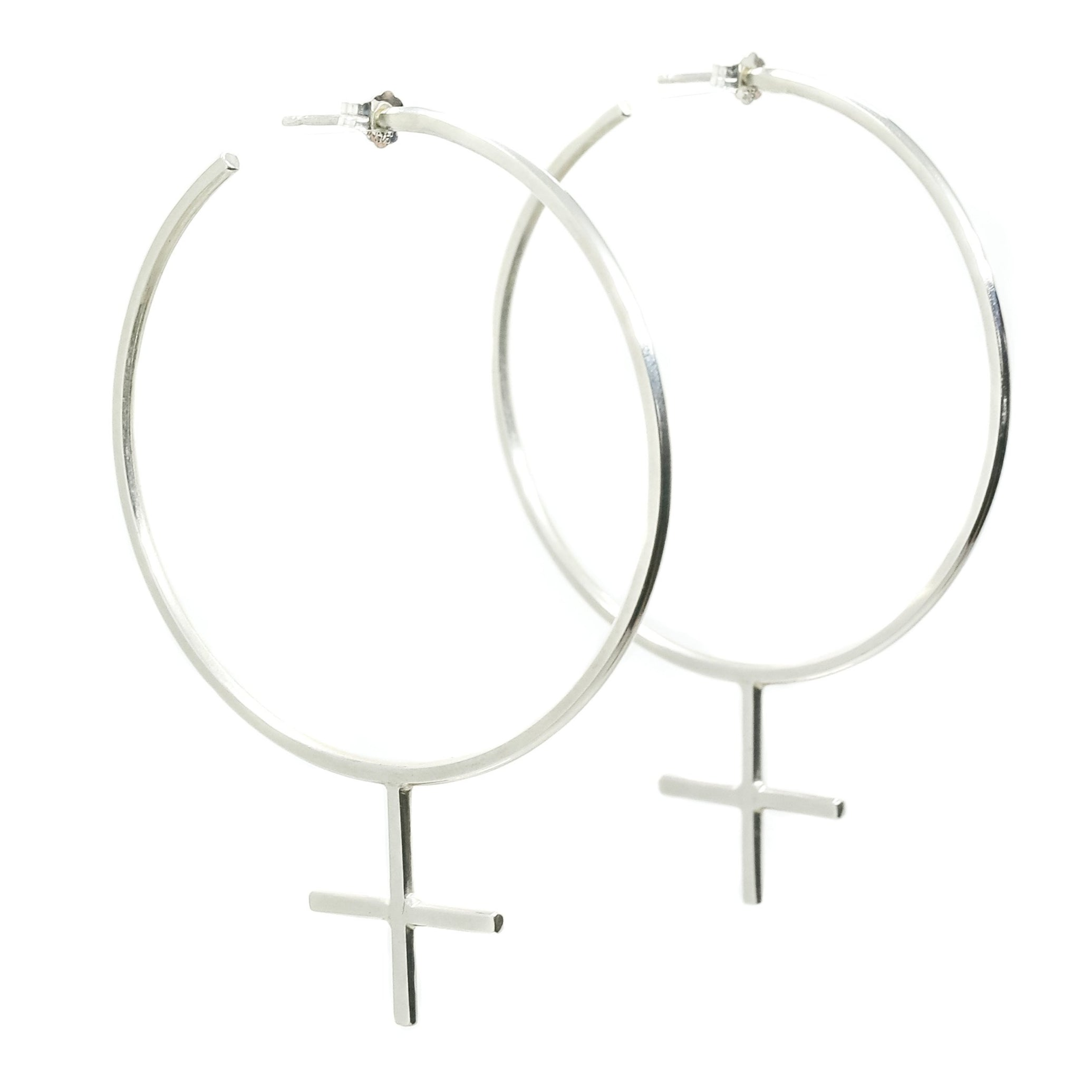 Emily Eliza Arlotte Handcrafted Fine Jewellery - Sterling Silver Venus Symbol Hoop Earrings Feminine Feminism Feminist Female Boho Bohemian Witchy Style Fashion