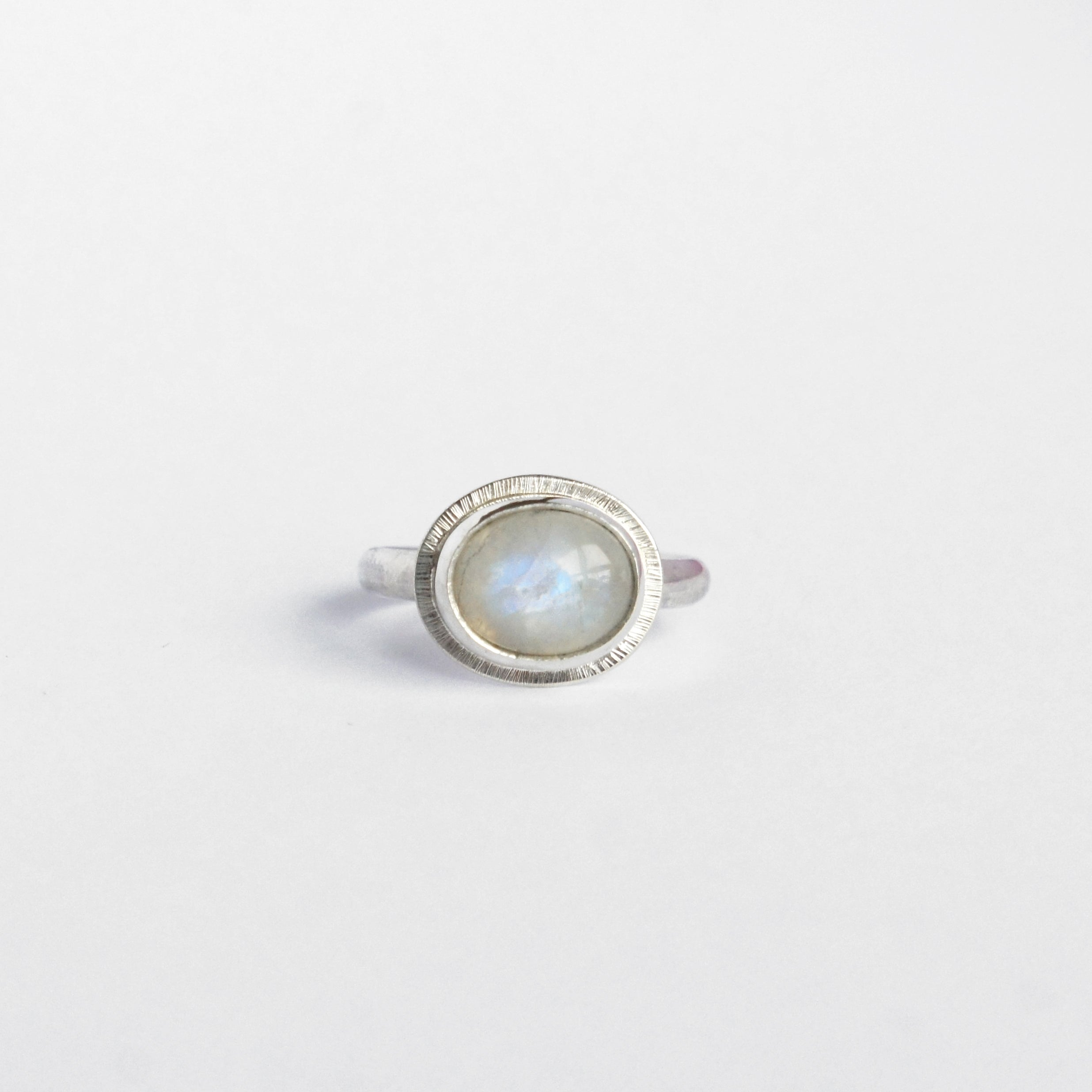 Emily Eliza Arlotte Handcrafted Fine Jewellery - Sterling Silver Moonstone Halo Ring Boho Bohemian Witchy Gemstone Style Fashion